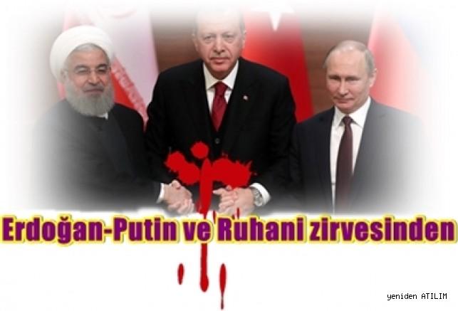 Erdoğan-Putin ve Ruhani zirvesinde Suriye'nin toprak bütünlüğüne vurgu yapılırken, liderler  bildiğini okudu