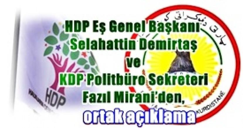 HDP Eş Genel Başkanı Selahattin Demirtaş ve KDP Politbüro Sekreteri Fazıl Mirani'den, ortak açıklama