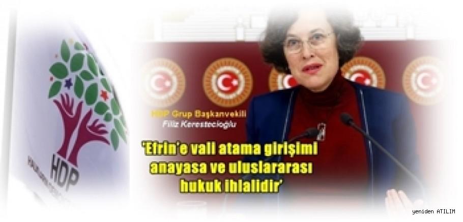 HDP Grup Başkanvekili Filiz Kerestecioğlu,'Efrin'e vali atama girişimi anayasa ve uluslararası hukuk ihlalidir'