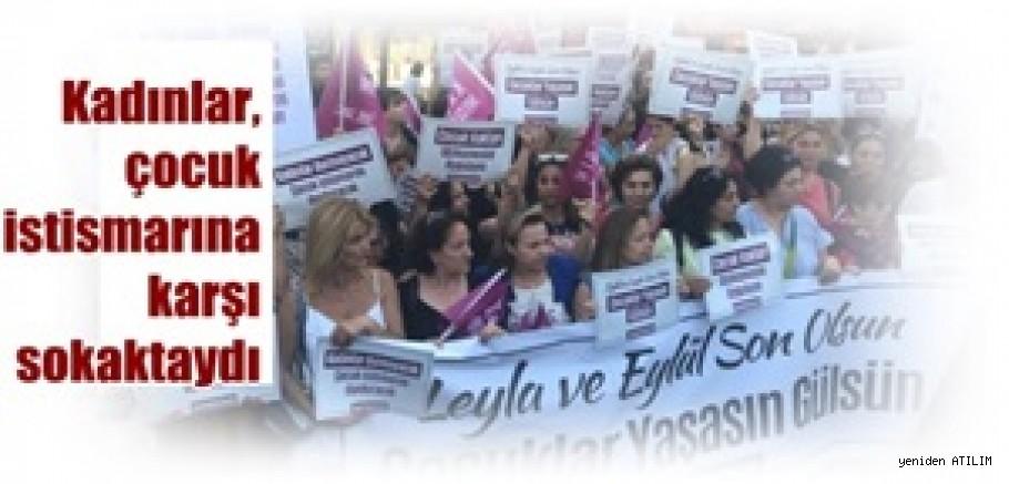 Kadınlar, çocuk istismarını protesto için sokaktaydı