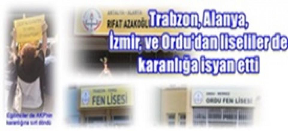 Liselilerin İsyanıi katılımlarla devam ediyor:Trabzon, Alanya, İzmir, ve Ordu'dan liseliler de karanlığa isyan etti