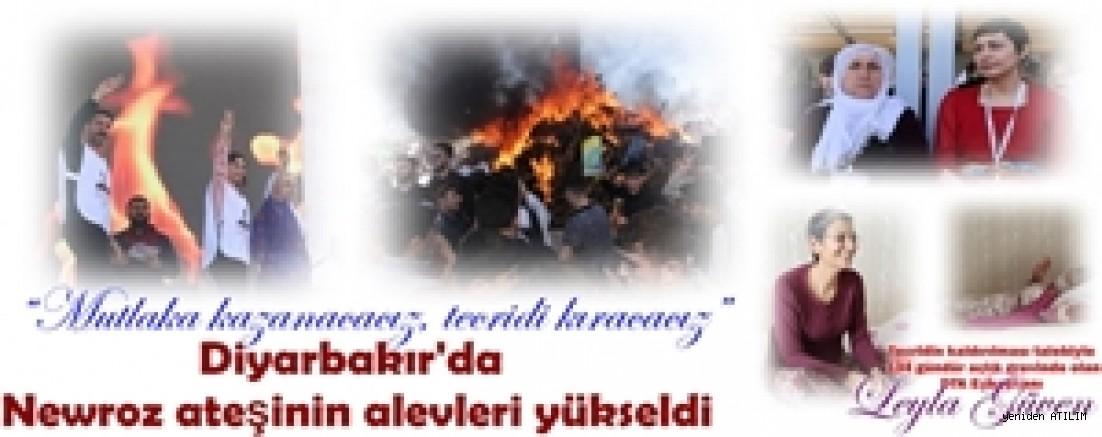 """""""Mutlaka kazanacağız, tecridi kıracağız"""" sloganıyla Diyarbakır'da Newroz ateşinin alevleri yükseldi"""