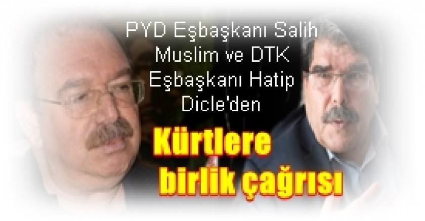 PYD Eşbaşkanı Salih Muslim ve DTK Eşbaşkanı Hatip Dicle'den:  Kürtlere birlik çağrısı