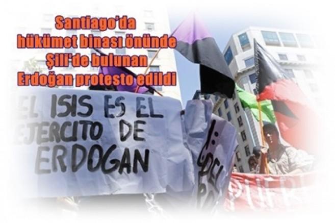 Santiago'da hükümet binası önünde Şili'de bulunan Erdoğan protesto edildi