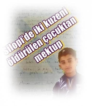Silopi'de iki kuzeni öldürülen çocuktan mektup:  Daha 11 yaşındaydı terörist Memo