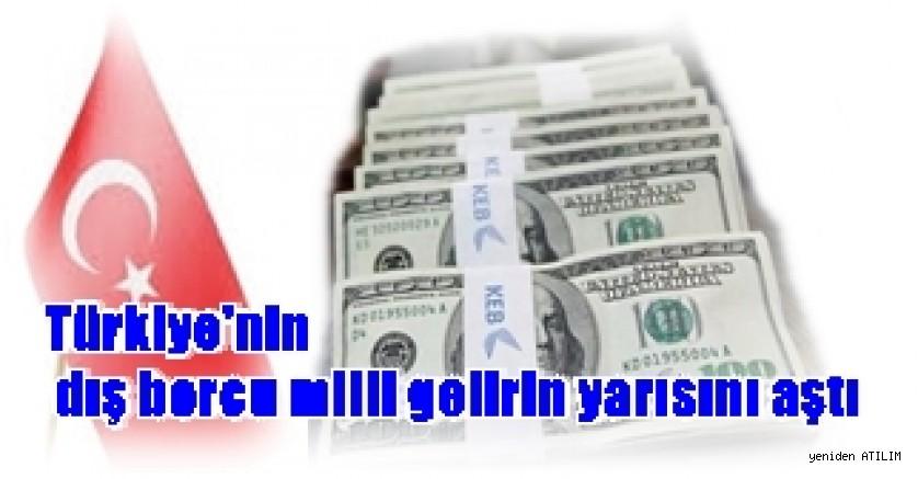 Türkiye'nin dış borcu milli gelirin yarısını aştı